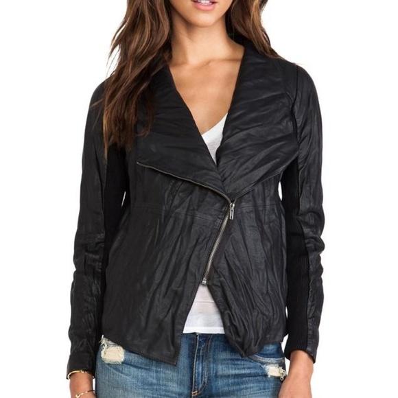 BB Dakota Jackets & Blazers - BB Dakota Knit Sleeve Faux Leather Jacket